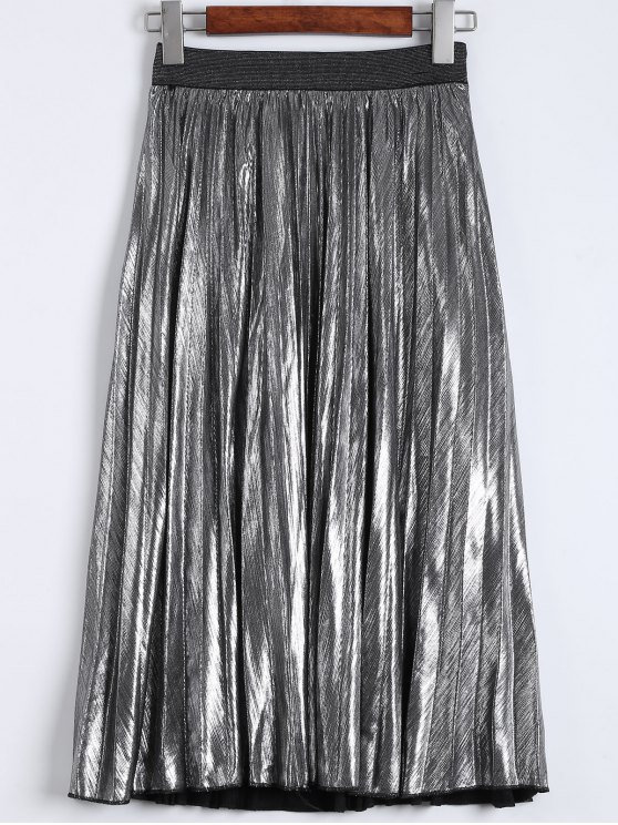 lady Metallic Color Pleated Tea Length Skirt - SILVER M