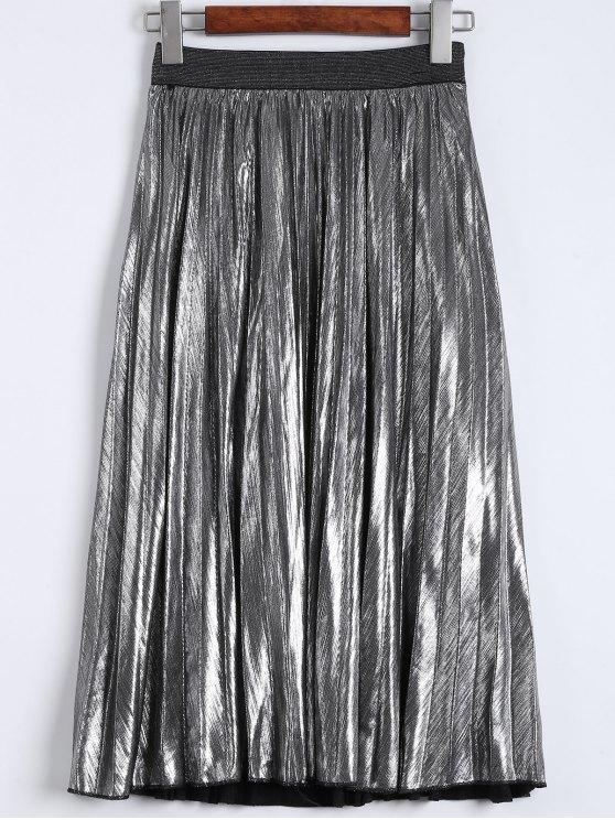 lady Metallic Color Pleated Tea Length Skirt - SILVER M