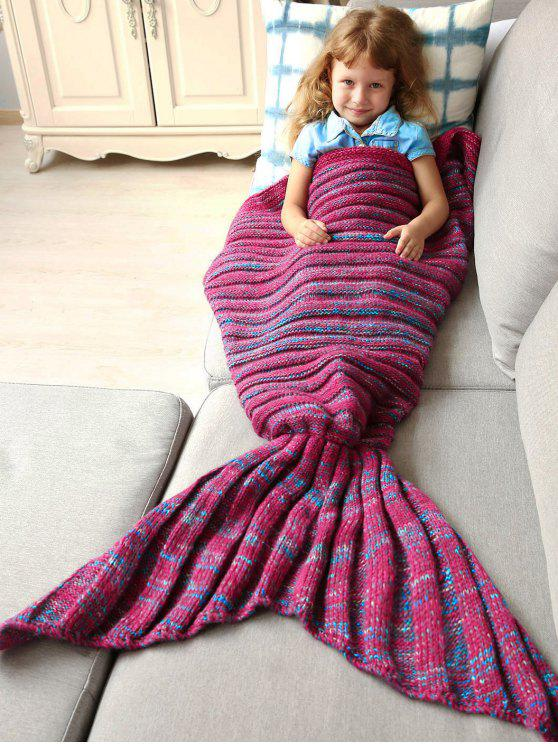 Kintted bambini Wrap Mermaid Tail Blanket - Blu e Rosso M