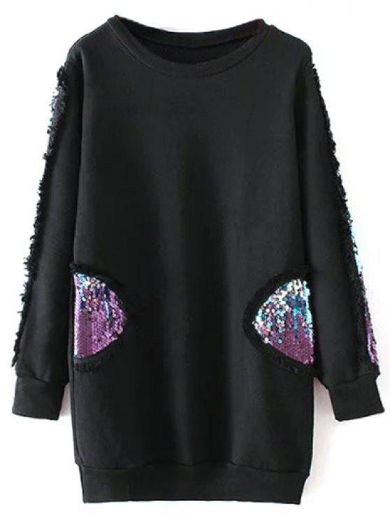 Lentejuelas con cuello redondo de la camiseta de largo - Negro M