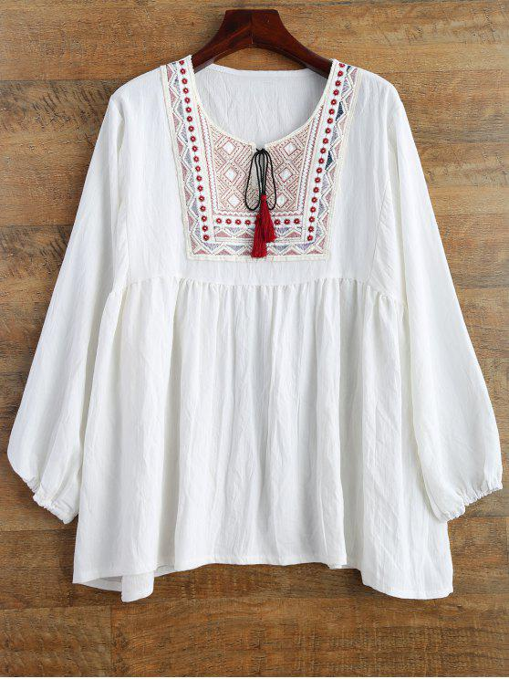 latest Tunic Baggy Blouse - WHITE XL