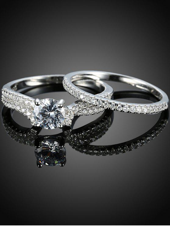 trendy S925 Diamond Round Ring Set - SILVER 6
