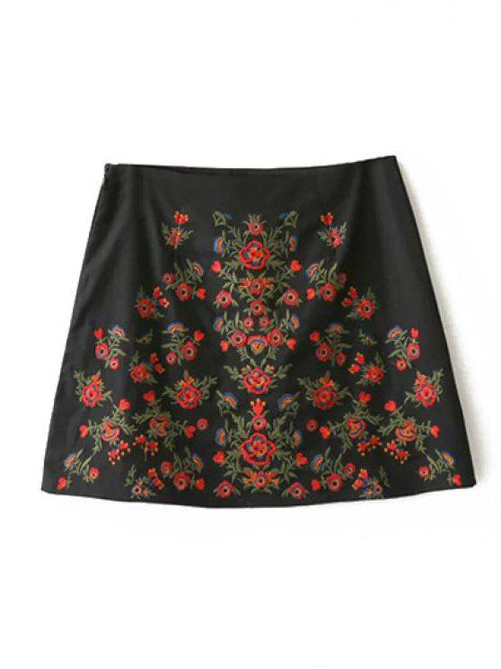 trendy Embroidered A-Line Skirt - BLACK L