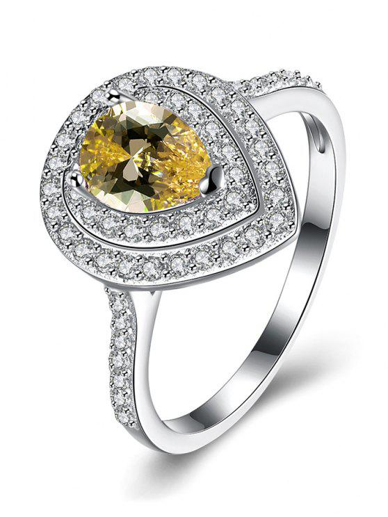 sale Teardrop Shape S925 Diamond Ring - YELLOW 8