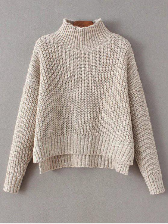 women Chunky Mock Neck Sweater - APRICOT ONE SIZE