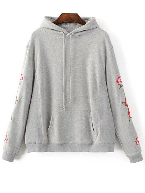 Sudadera con capucha del bolsillo grande bordado floral - Gris S