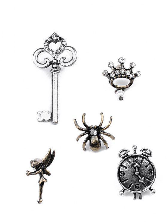 unique Spider Key Crown Clock Elf Brooch Set - SILVER