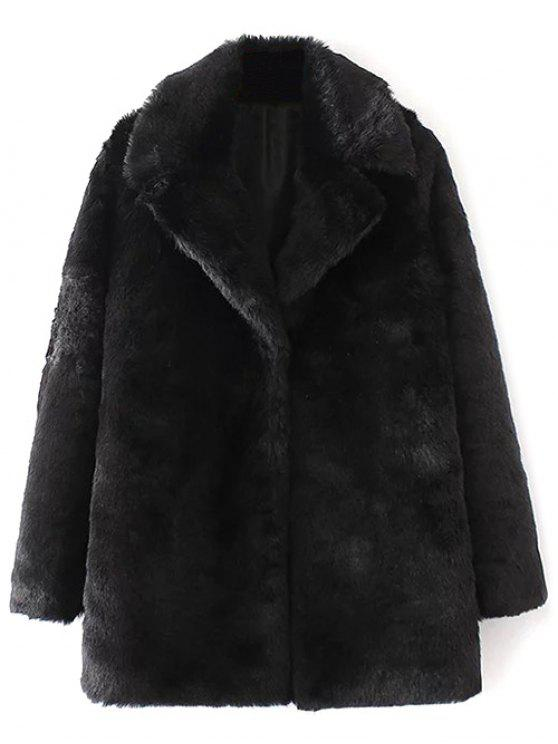 fd1a8ece316 36% OFF] 2019 Fitting Faux Fur Coat In BLACK | ZAFUL