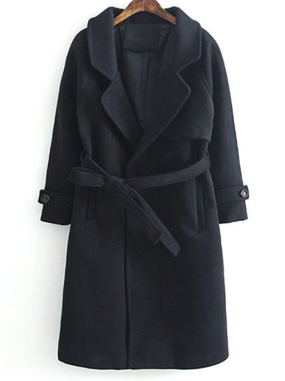 ladies Woolen Lapel Collar Belted Coat - BLACK S