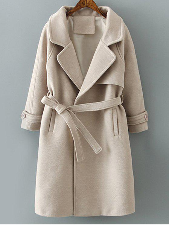 best Woolen Lapel Collar Belted Coat - KHAKI L