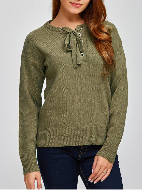 ladies Leisure Lace-Up Sweater - ARMY GREEN ONE SIZE