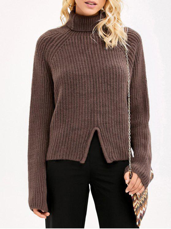 Suéter de Lã grossa Gola Alta Com Fenda Frontal - Café Um Tamanho