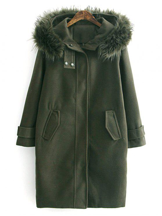 latest Fur Hooded Woolen Coat - ARMY GREEN L