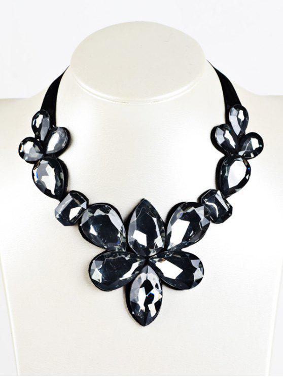 Collier à ruban de soie à pendentif de diamants artificieux - Noir