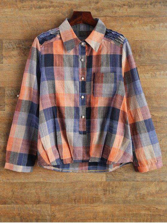قميص التحقق مع الجيب - مربع النقش XL