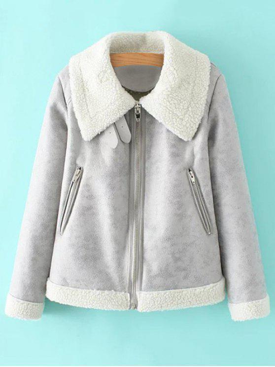 women PU Leather Zipper Pocket Faux Shearling Coat - GRAY S