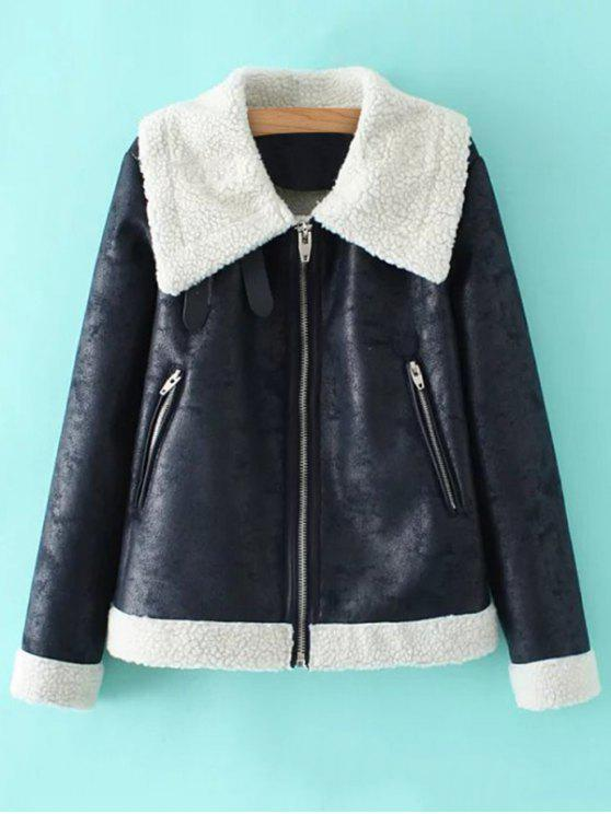 lady PU Leather Zipper Pocket Faux Shearling Coat - BLUE S