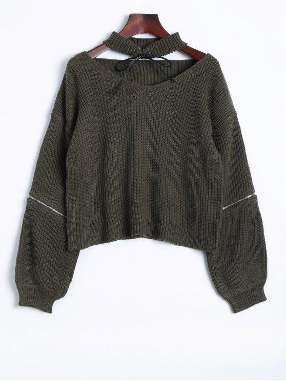 chic Zipper Choker Jumper - BLACKISH GREEN ONE SIZE
