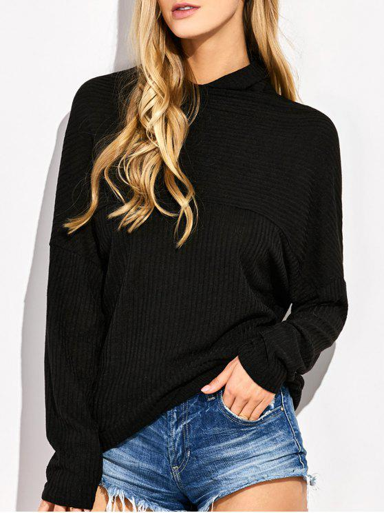women's High Neck Batwing Sleeve Jumper - BLACK L