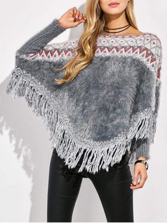 best Tassels Fluffy Batwing Sweater - MULTICOLOR ONE SIZE