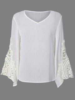 Flare Sleeve Lace Insert Hollow Out Blouse - White Xs