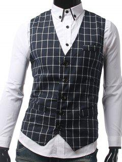 Slim Fit Single Breasted Grid Waistcoat - Purplish Blue M