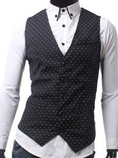 Slim Fit Single Breasted Polka Dot Waistcoat - Black M