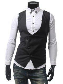 Asymmetrical Front Plain Waistcoat - Black L
