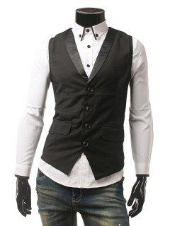 Buckled Flap Pocket Single Breasted Waistcoat - Black L