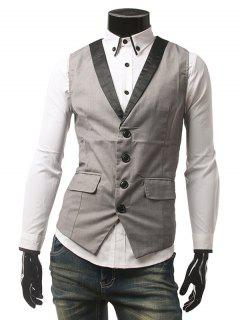 Buckled Flap Pocket Single Breasted Waistcoat - Gray M