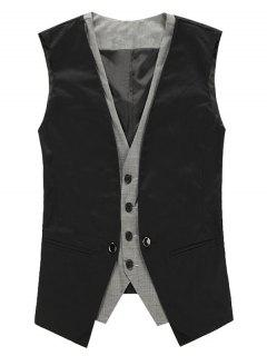 Faux Twinset V Neck Single Breasted Waistcoat - Black M