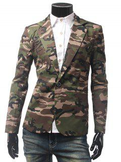 Pocket Camo One Button Blazer - Army Green Xl