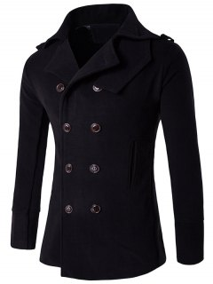 Stand Collar Double Breasted Epaulet Wool Coat - Black Xl