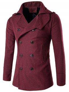 Manteau En Laine Avec Col Montant à Double Boutonnage - Rouge Xl