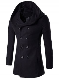 Hooded Double Breasted Back Slit Wool Coat - Black 2xl