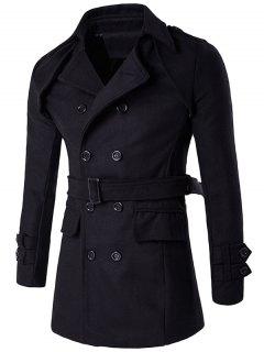 Manteau En Laine Avec Col à Revers Et épaulettes à Double Boutonnage - Noir Xl