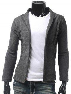 Slim Fit Chal Collar Cardigan - Gris Oscuro M