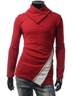 Contrast Panel Zippered Surplice Knitwear - Burgundy Xl
