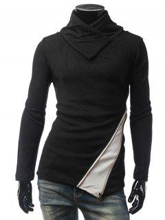 Contrast Panel Zippered Surplice Knitwear - Black Xl
