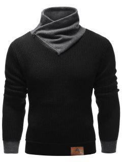 Zip Up High Neck Ribbed Pullover Sweater - Black L