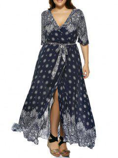 Robe Maxi Enveloppante Légère Imprimée Bohémienne Grande Taille - Bleu Profond 2xl
