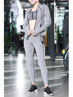 Zip Up Jacket With Bra With Yoga Pants - Light Gray L