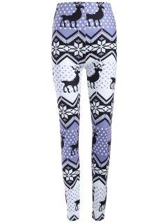 Plus Size Ornate Elk Printed Christmas Leggings - Light Purple 3xl
