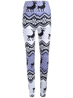 Plus Size Ornate Elk Printed Christmas Leggings - Light Purple Xl