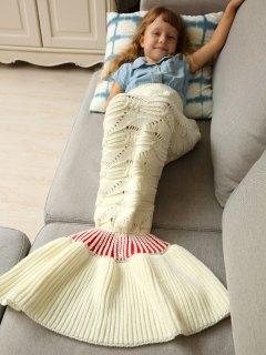 Knitted Hollowed Wrap Kids Mermaid Blanket - White M