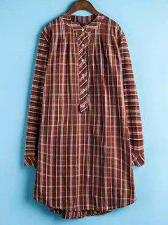 Plaid Buttoned Long Sleeve Dress - Jacinth Xl