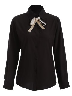 Bowknot Long Sleeve Button Up Shirt - Black S
