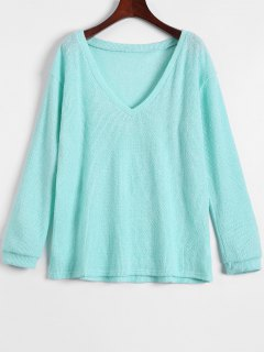 Long Sleeve V Neck Jumper - Light Green Xl