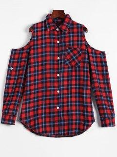 Plaid épaules Découpées Shirt - Multicouleur M