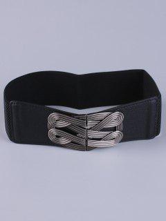 Faux Leather Stretch Belt - Black